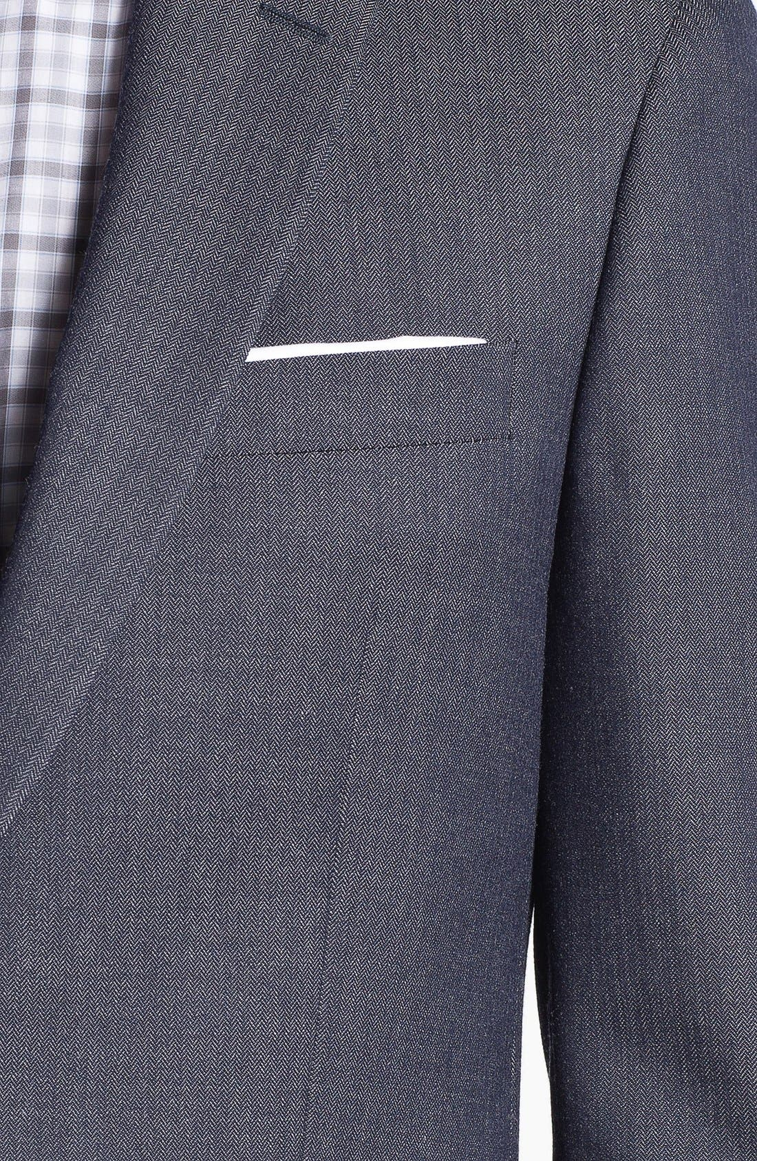 Alternate Image 2  - John Varvatos Star USA Herringbone Trim Fit Wool Sportcoat