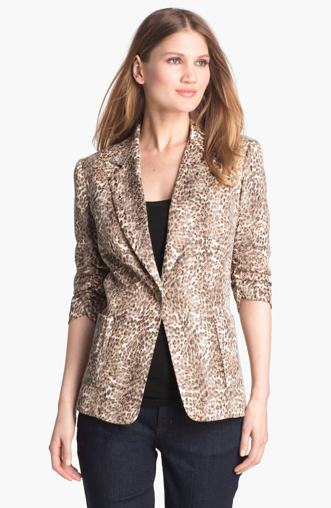 Main Image - Alberto Makali Ruched Sleeve Cheetah Print Jacket