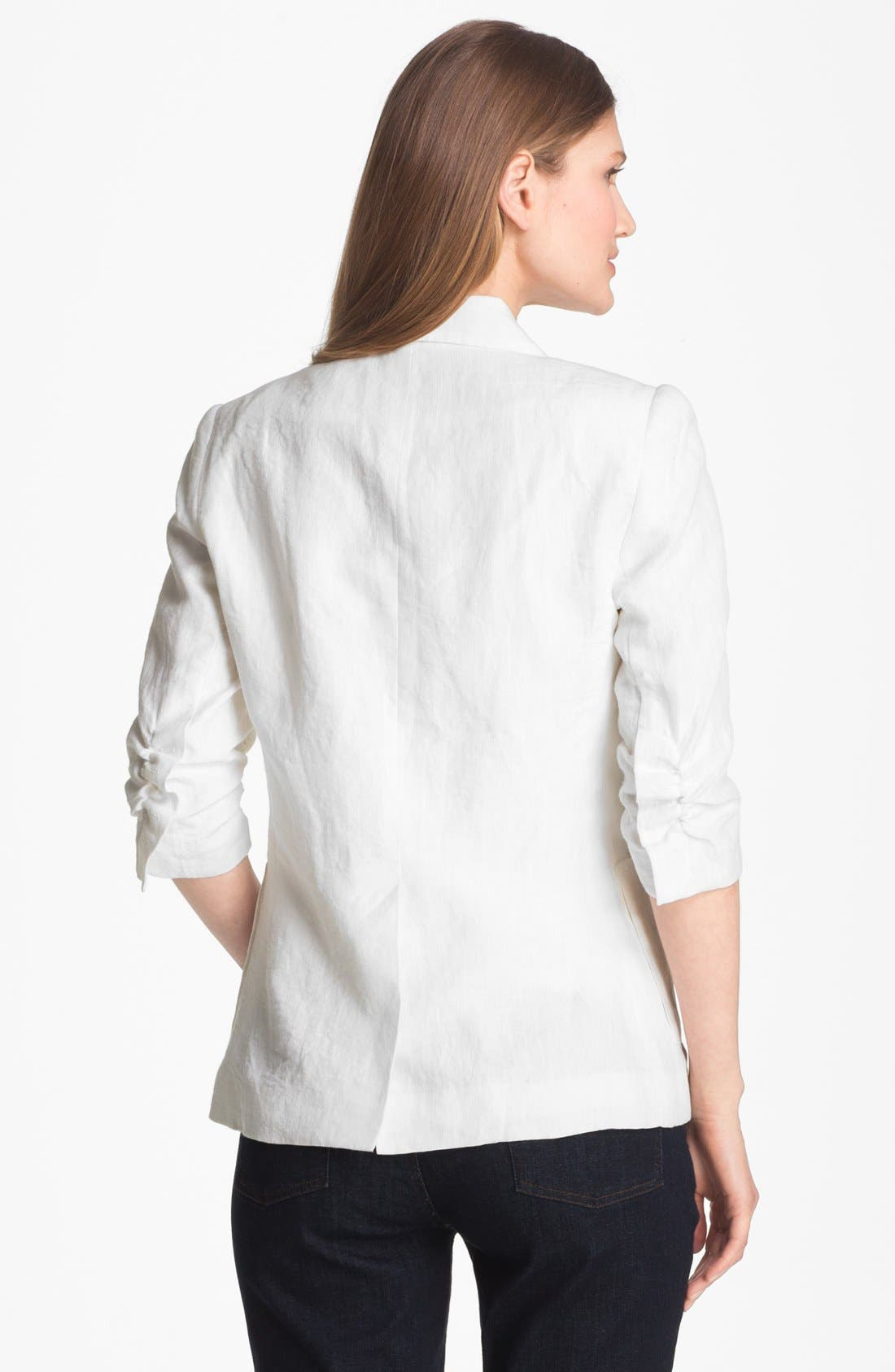 Alternate Image 2  - Alberto Makali Ruched Sleeve Linen Jacket