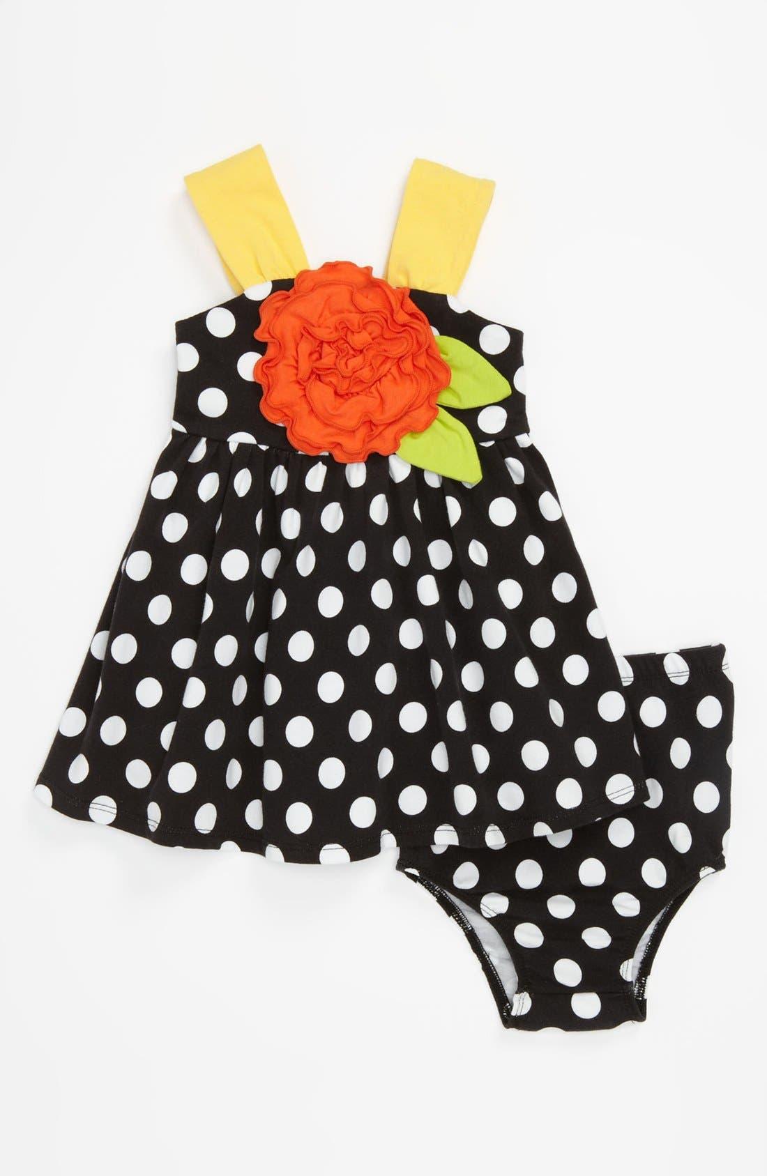 Alternate Image 1 Selected - Iris & Ivy Polka Dot Dress & Bloomers (Baby)