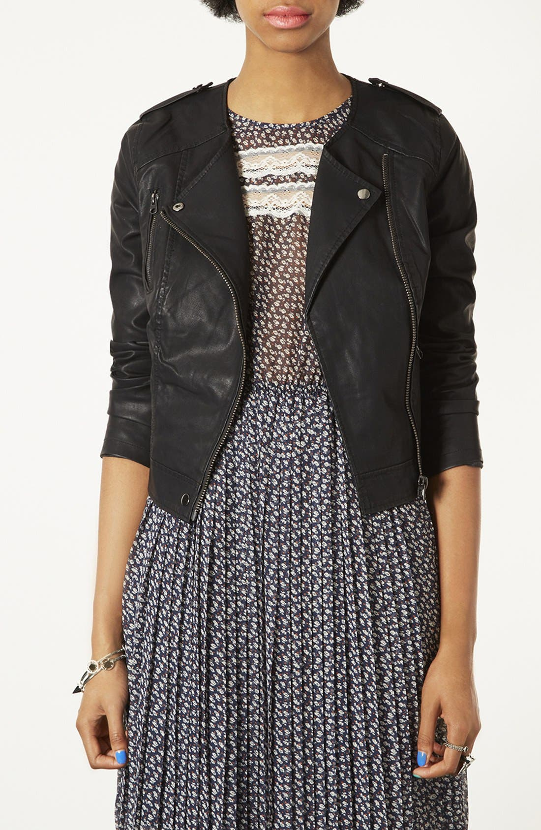 Alternate Image 1 Selected - Topshop 'Mirabelle' Faux Leather Biker Jacket