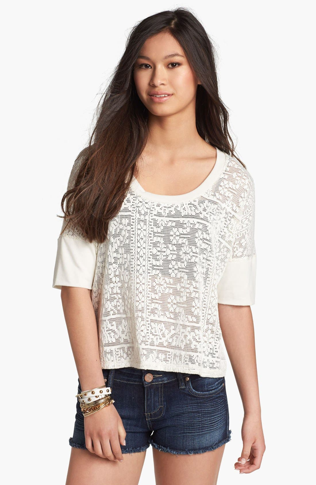 Alternate Image 1 Selected - Lily White Crochet Top (Juniors)