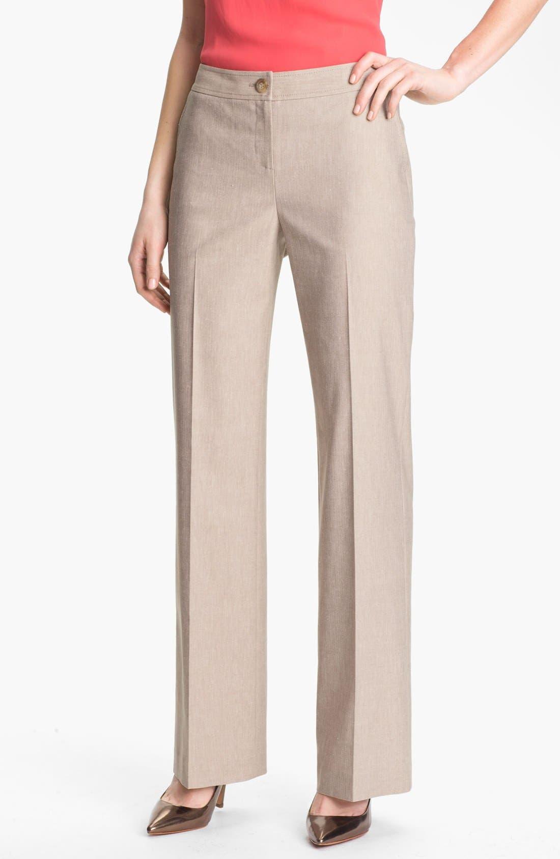 Alternate Image 1 Selected - Halogen® 'Taylor' Herringbone Curvy Fit Pants