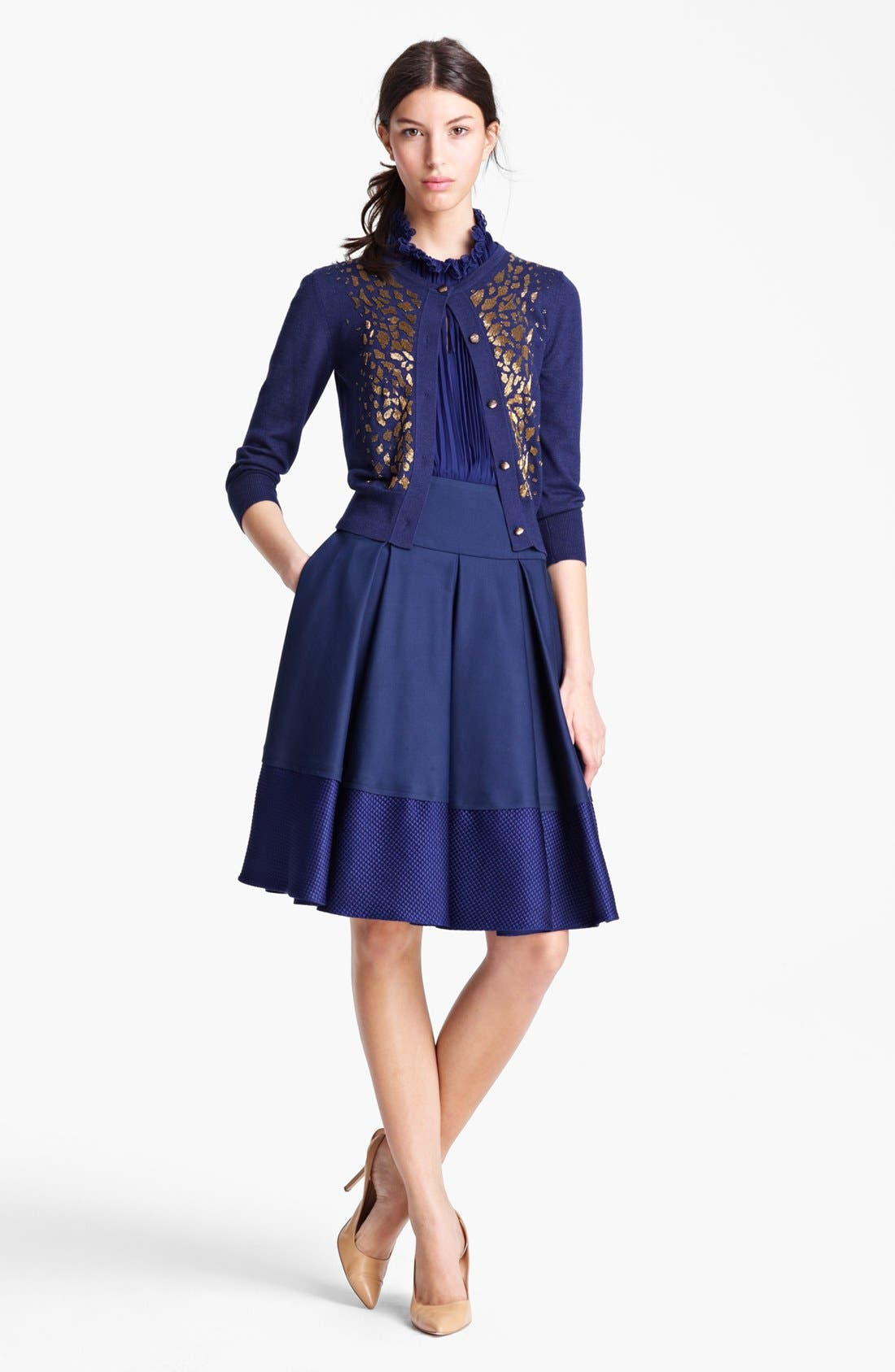 Alternate Image 2  - Oscar de la Renta Embroidered Cashmere & Silk Cardigan