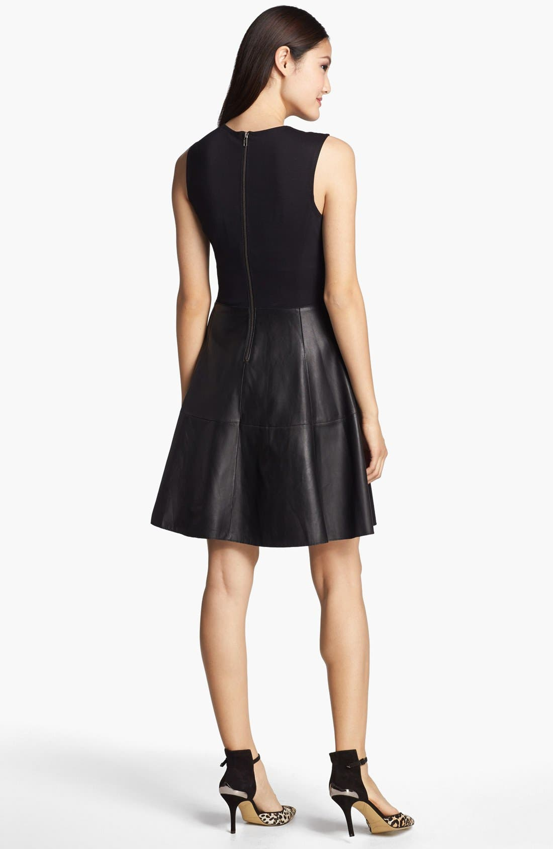 Alternate Image 2  - Halogen® Back Zip Leather & Ponte Dress