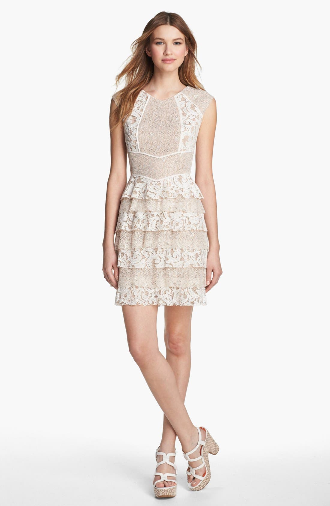 Alternate Image 1 Selected - BCBGMAXAZRIA Lace Panel Ruffle Dress (Petite)