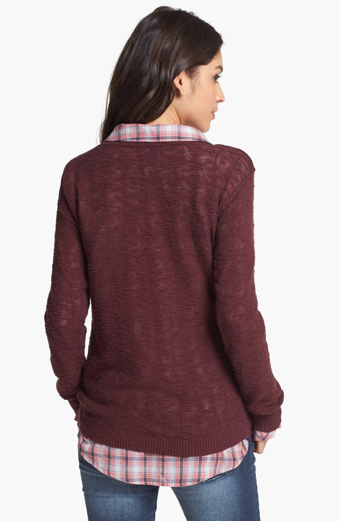 Alternate Image 2  - Rubbish® Slub V-Neck Sweater (Juniors)