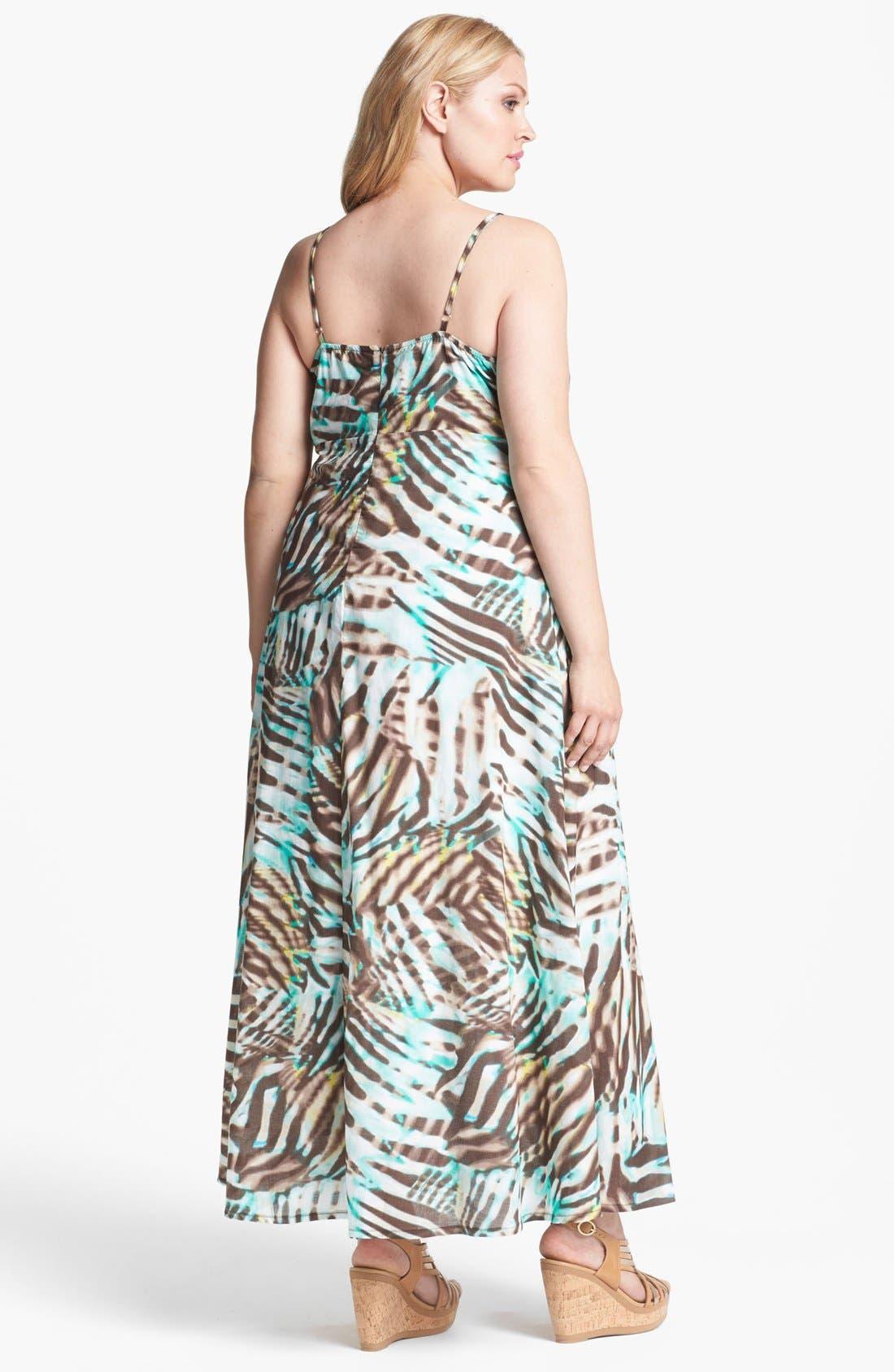 Alternate Image 2  - Kische Zebra Print Cotton Maxi Dress (Plus Size)