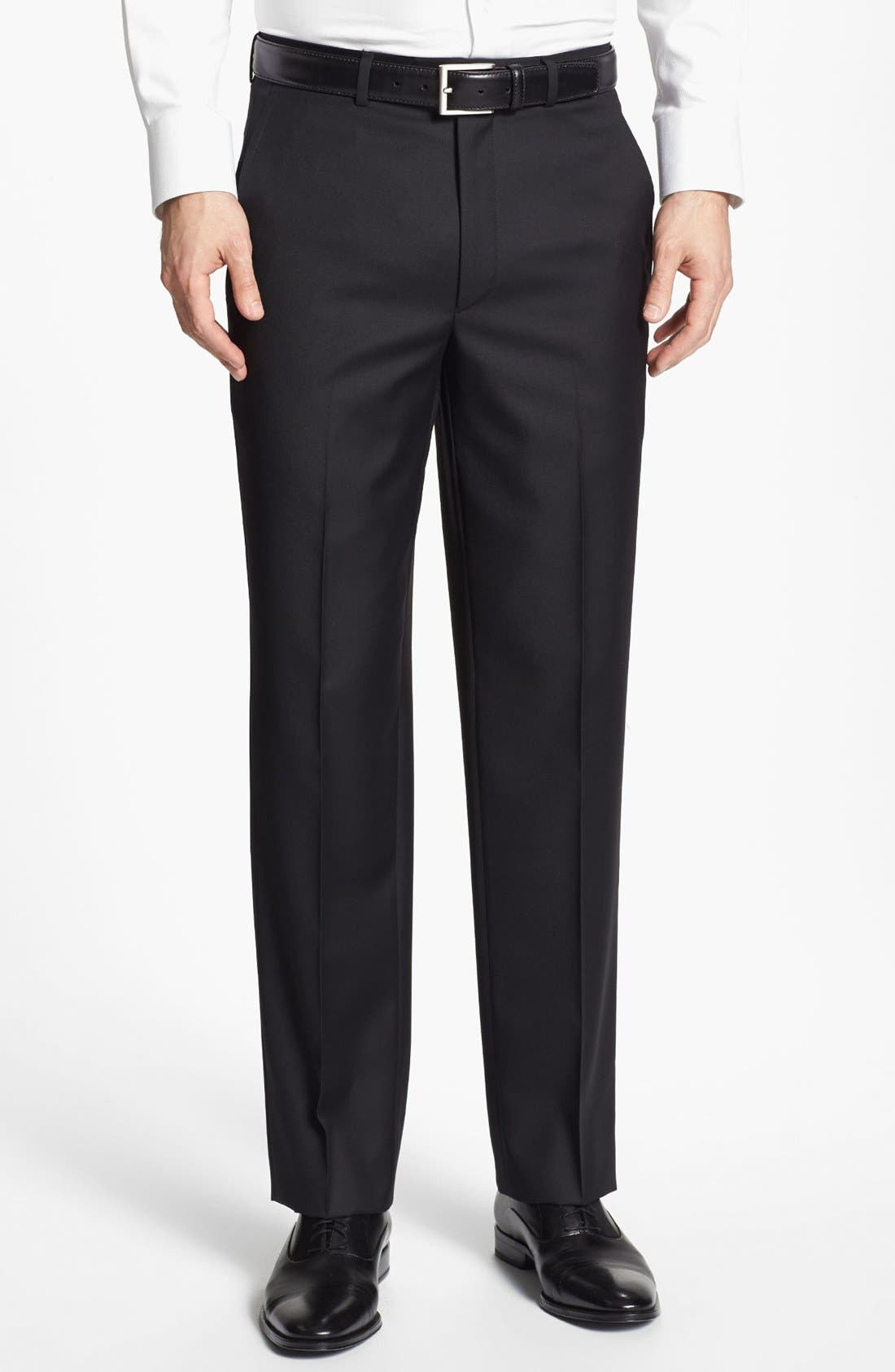 Santorelli Luxury Flat Front Wool Trousers