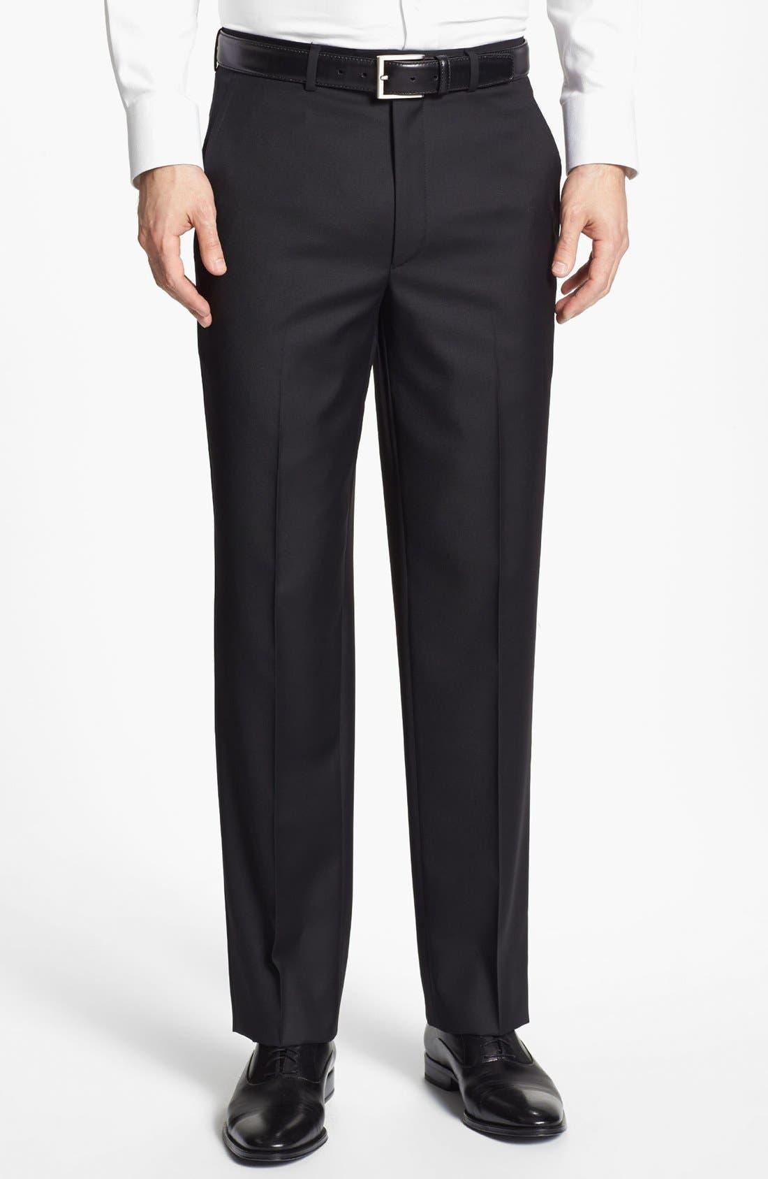 Santorelli Luxury Flat Front Wool Trousers