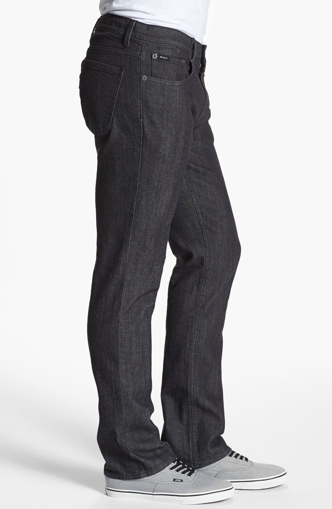 Alternate Image 3  - RVCA Slim Straight Leg Jeans (Black)