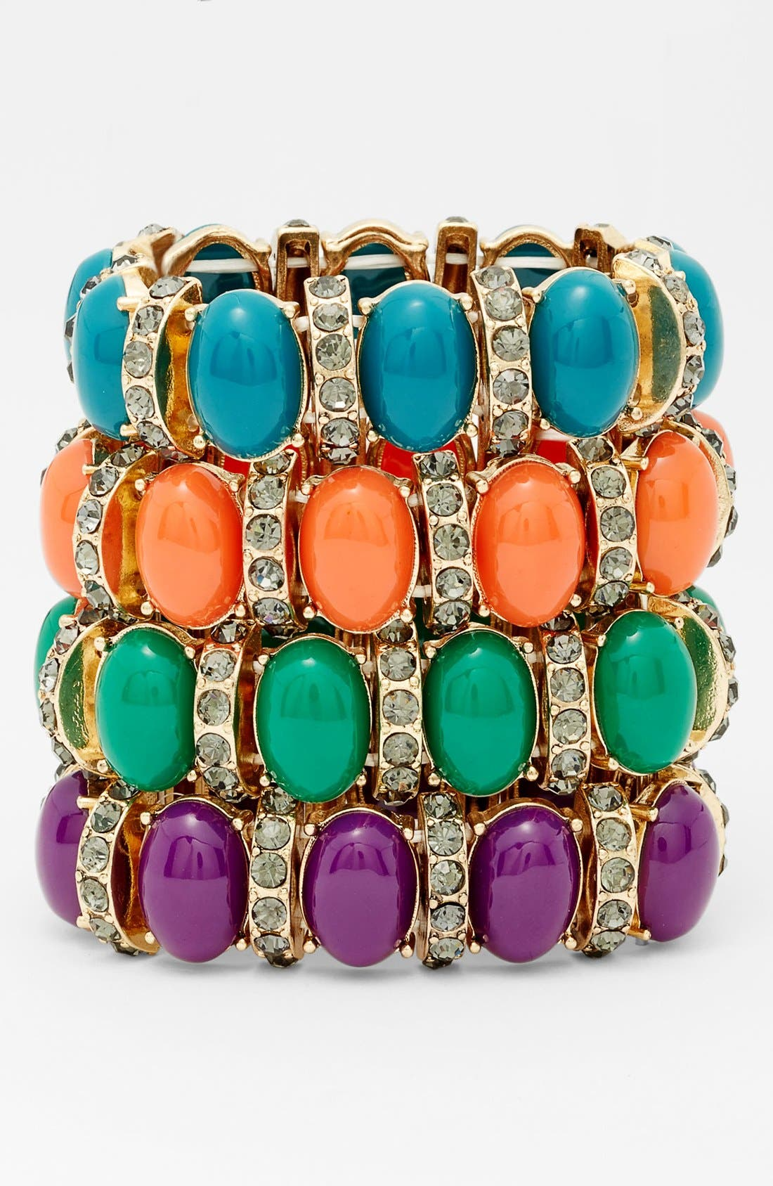 Alternate Image 2  - Tasha Oval Stone & Crystal Bar Stretch Bracelet