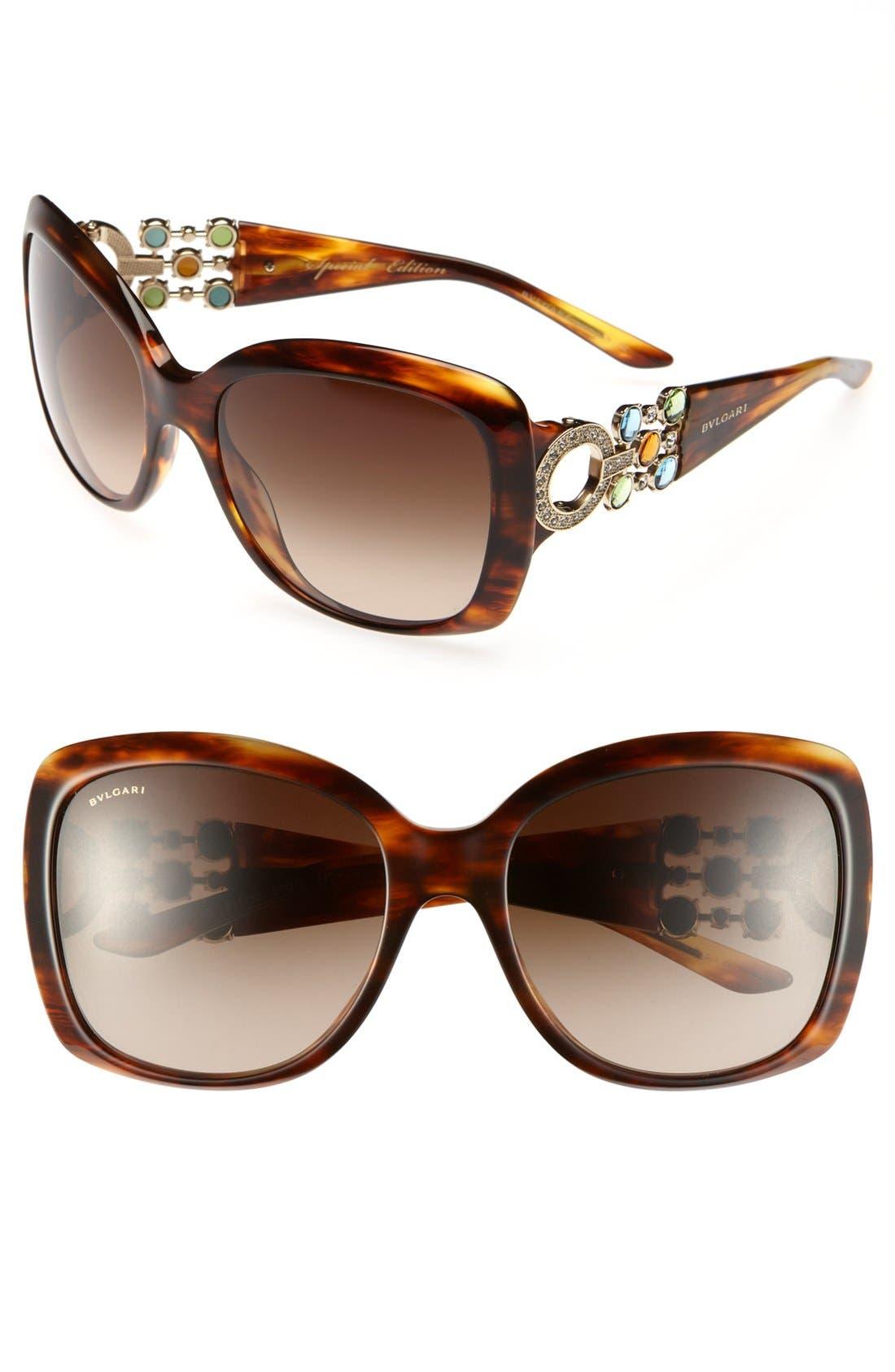 Main Image - BVLGARI 57mm Embellished Temple Sunglasses