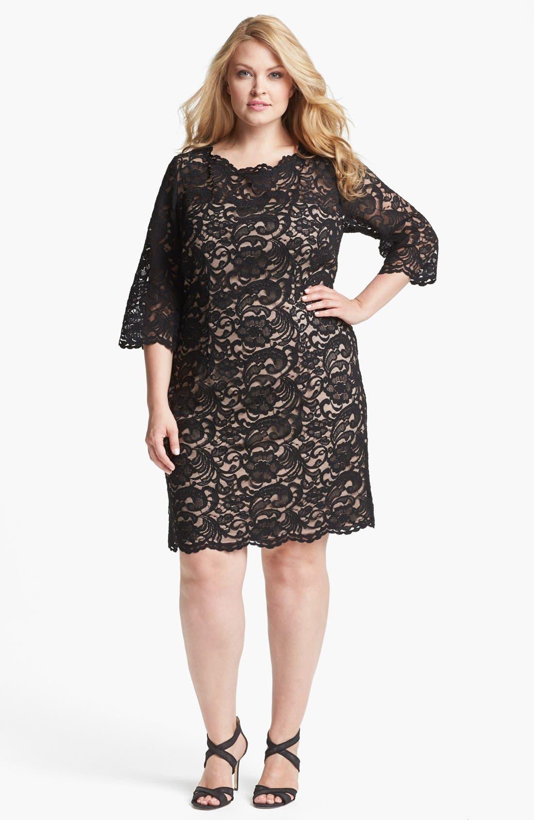Main Image - Xscape Lace Shift Dress (Plus Size)