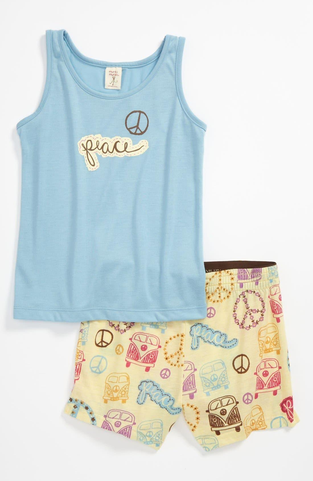 Alternate Image 1 Selected - Munki Munki Two-Piece Pajamas (Little Girls & Big Girls)