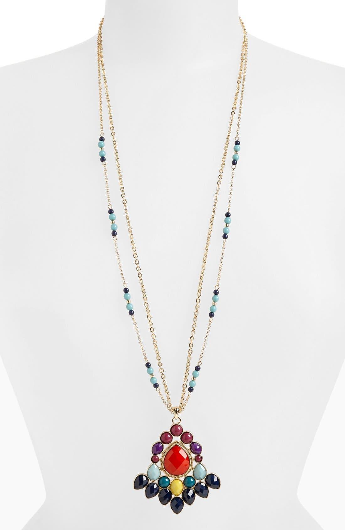 Two Strand Tribal Pendant Necklace,                             Main thumbnail 1, color,                             Multi