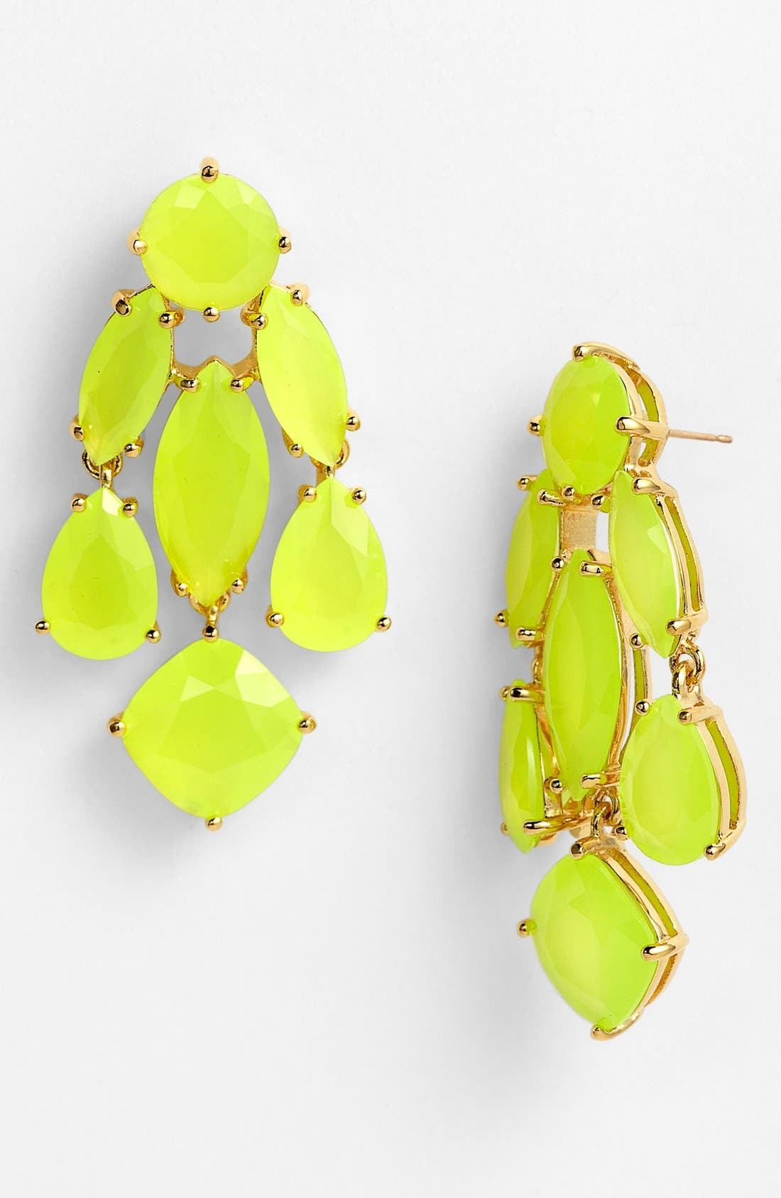 statement chandelier earrings,                             Main thumbnail 1, color,                             Fluorescent Yellow/ Gold