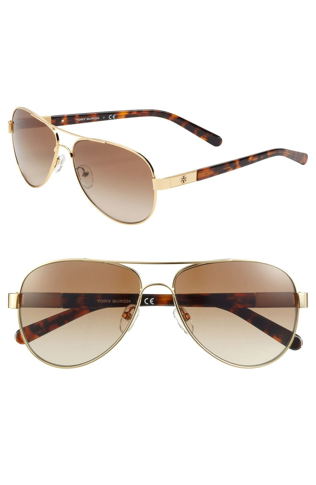 Main Image - Tory Burch 57mm Metal Aviator Sunglasses