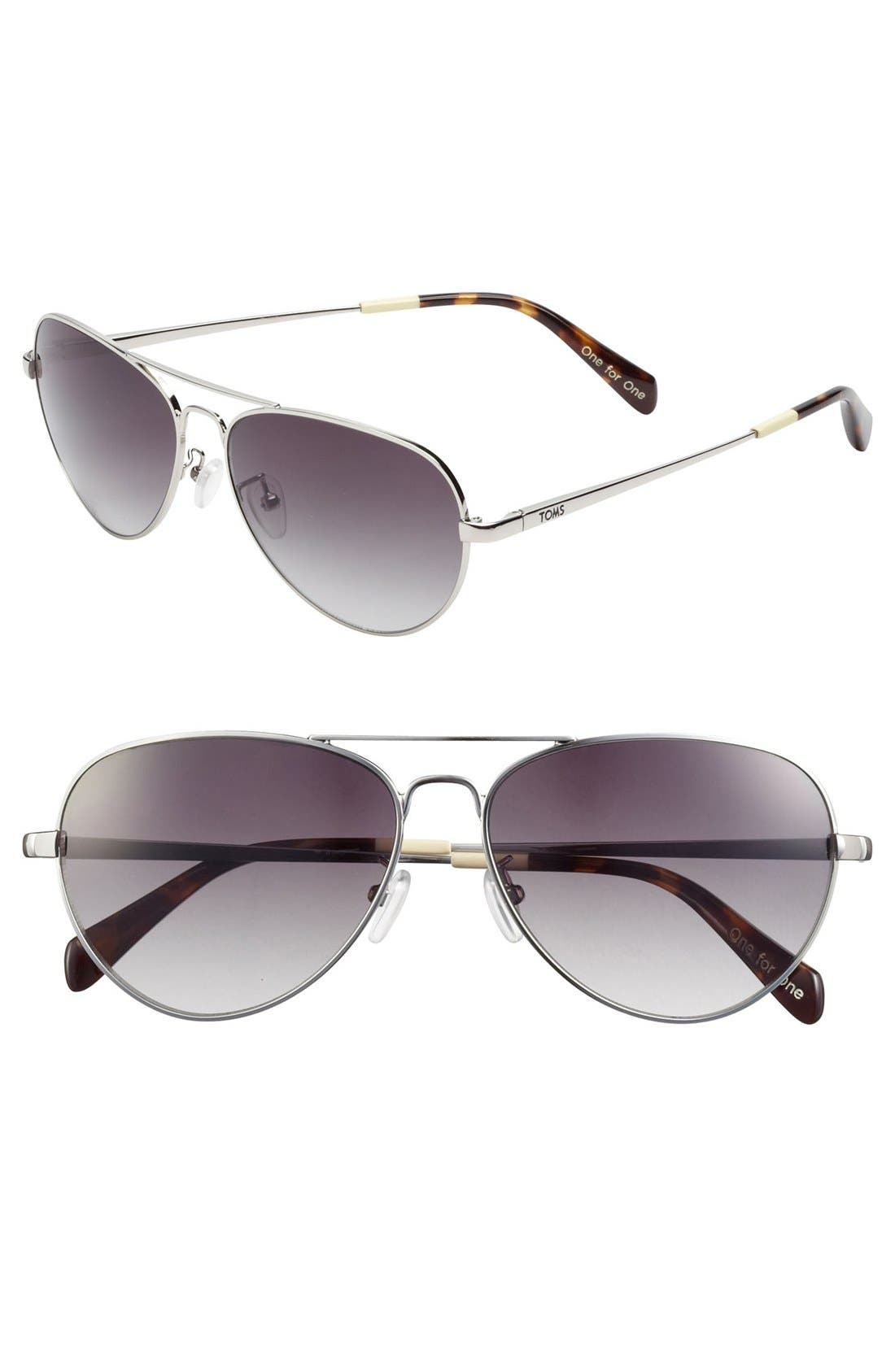 Alternate Image 1 Selected - TOMS 'Maverick' 60mm Aviator Sunglasses