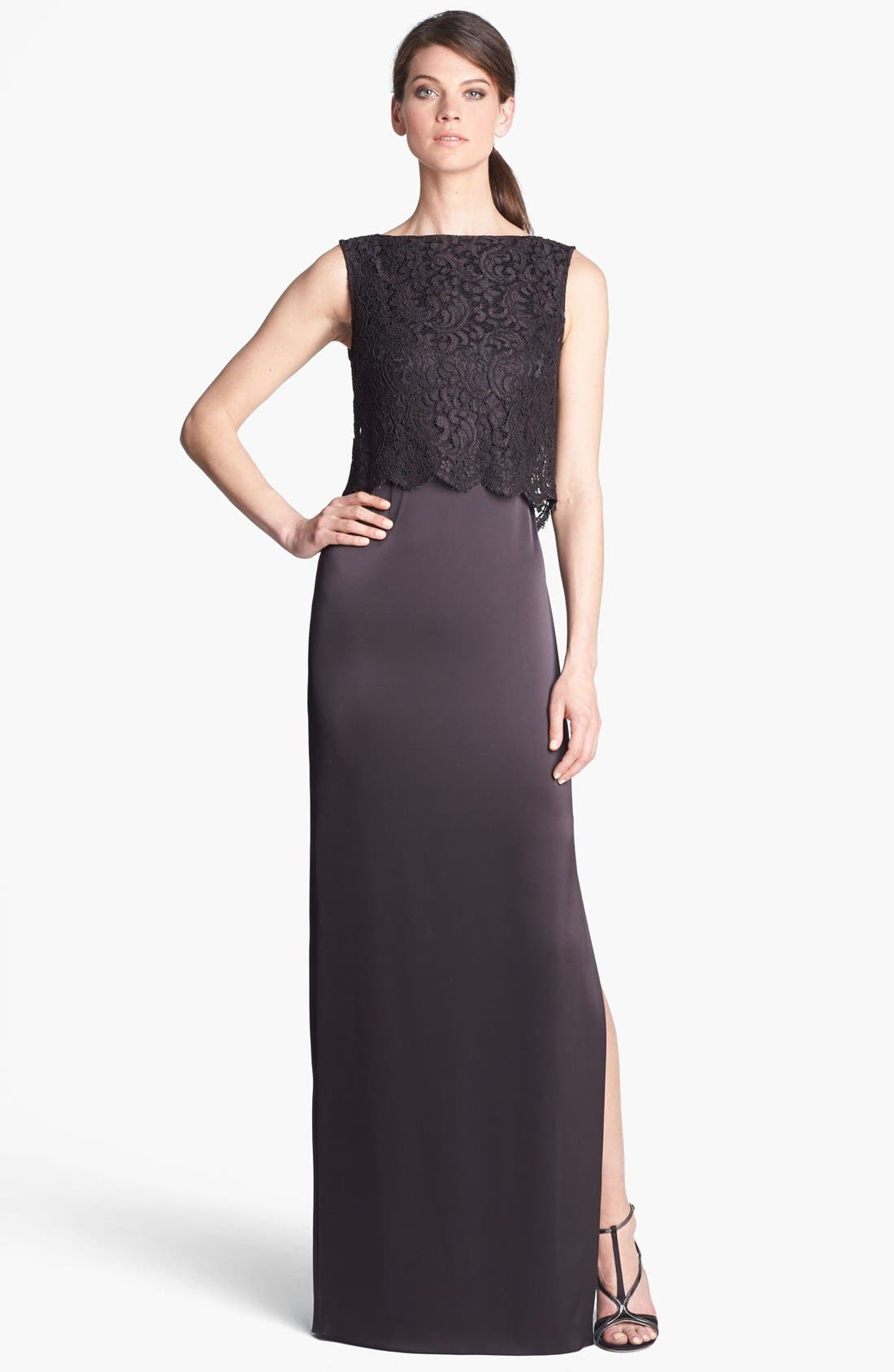Main Image - St. John Collection Plume Lace Overlay Liquid Satin Gown