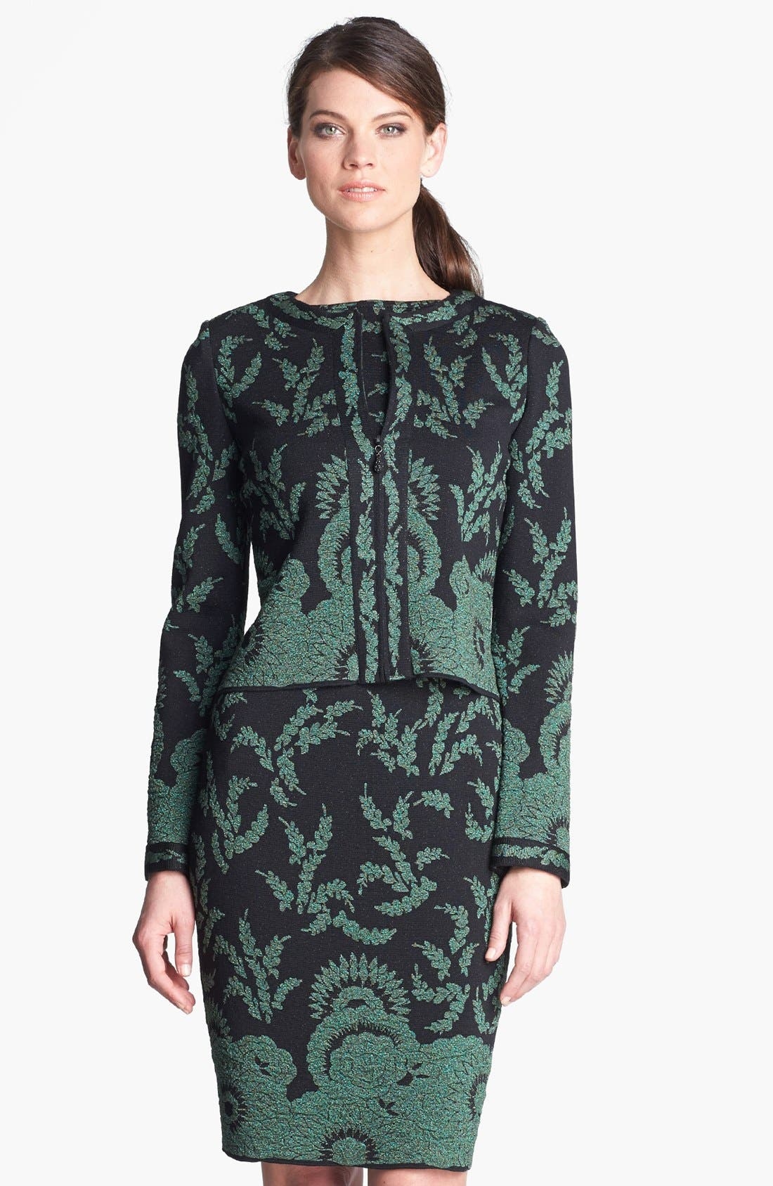 Alternate Image 1 Selected - St. John Collection Plume Floral Brocade Crop Jacket