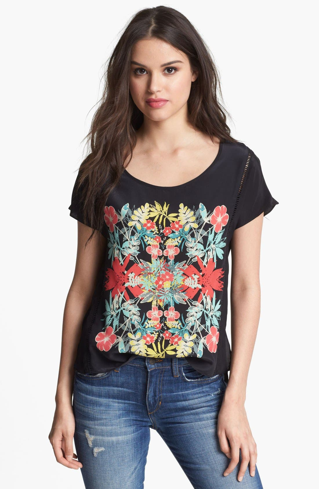 Main Image - Ella Moss 'Tropadelic' High/Low Silk Shirt
