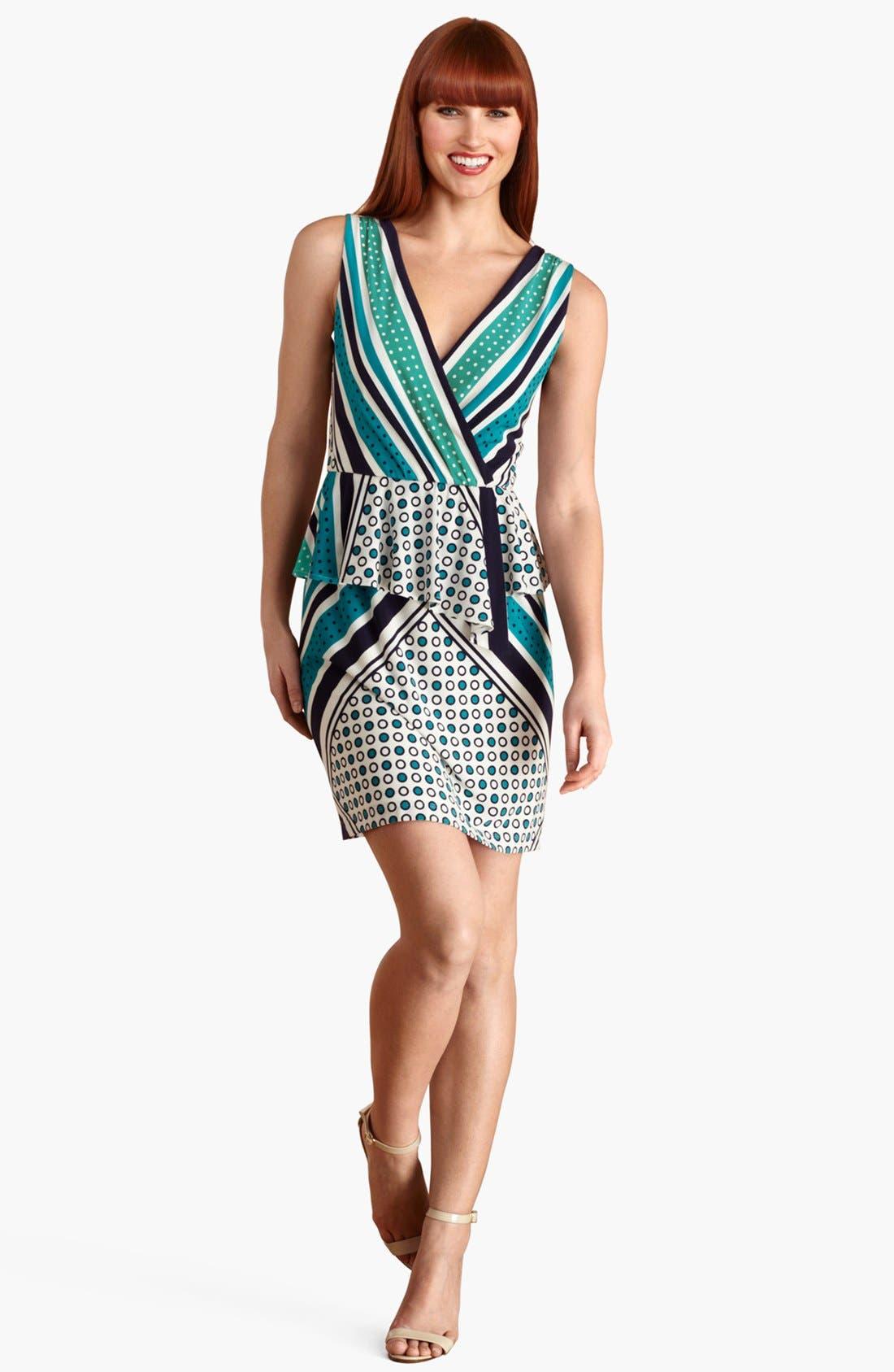 Main Image - Donna Morgan Sleeveless Print Jersey Peplum Dress