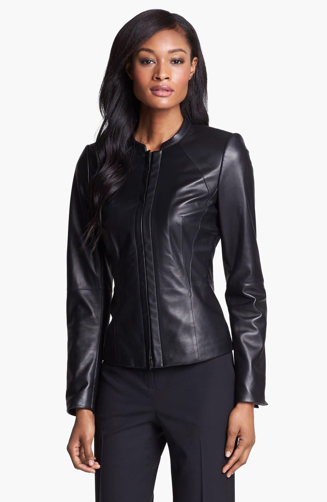 Main Image - Lafayette 148 New York 'Velvet' Lambskin Leather Jacket