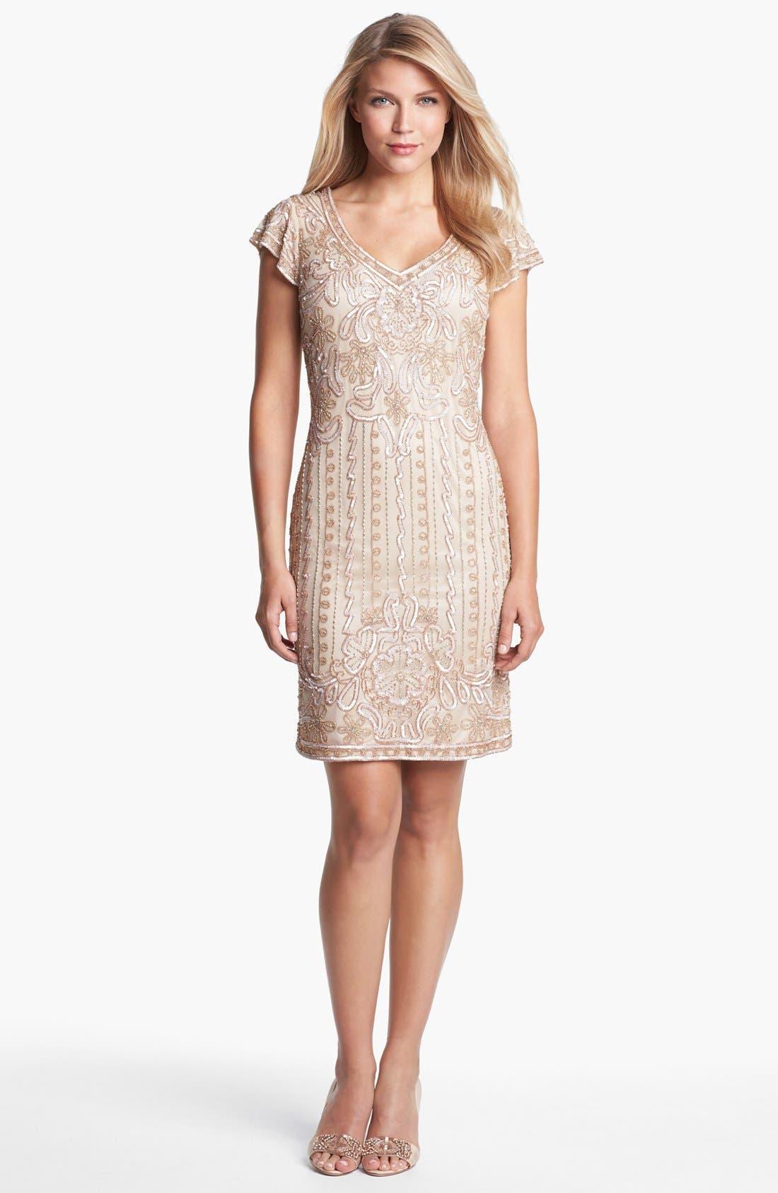 Alternate Image 1 Selected - J Kara Embellished Mesh Sheath Dress (Petite)