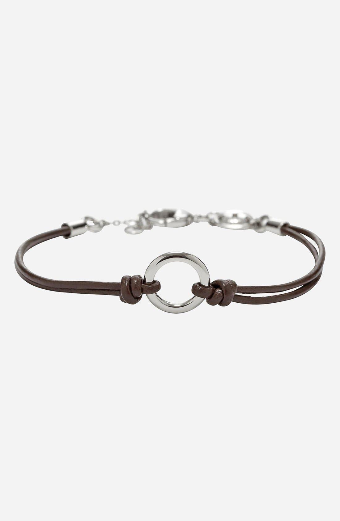 Main Image - Fossil Leather Charm Bracelet