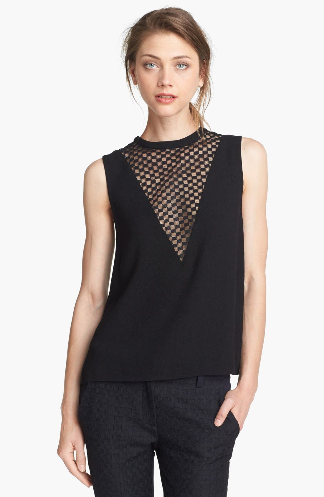 'Harlow' Checkerboard Lace Inset Top,                         Main,                         color, Black