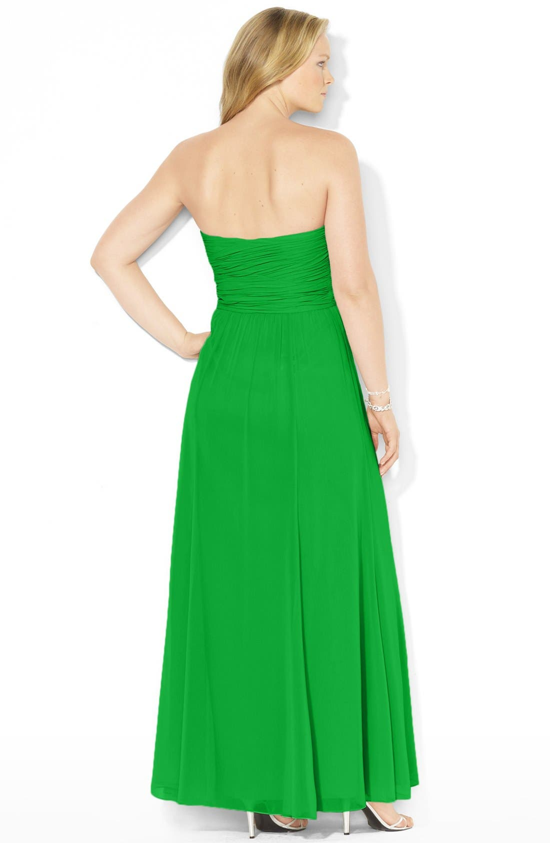 Alternate Image 3  - Lauren Ralph Lauren Pleated Georgette Gown (Plus Size)