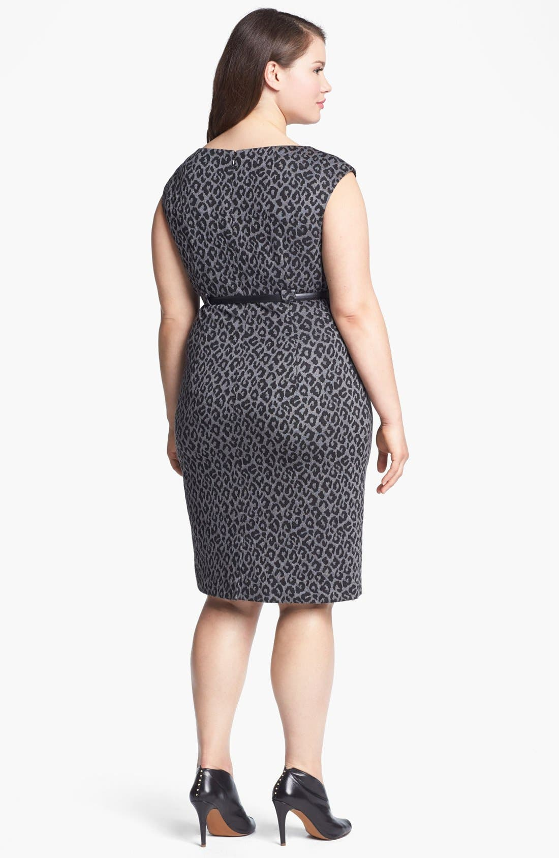 Alternate Image 2  - Calvin Klein Cap Sleeve Print Sheath Dress (Plus Size) (Online Only)