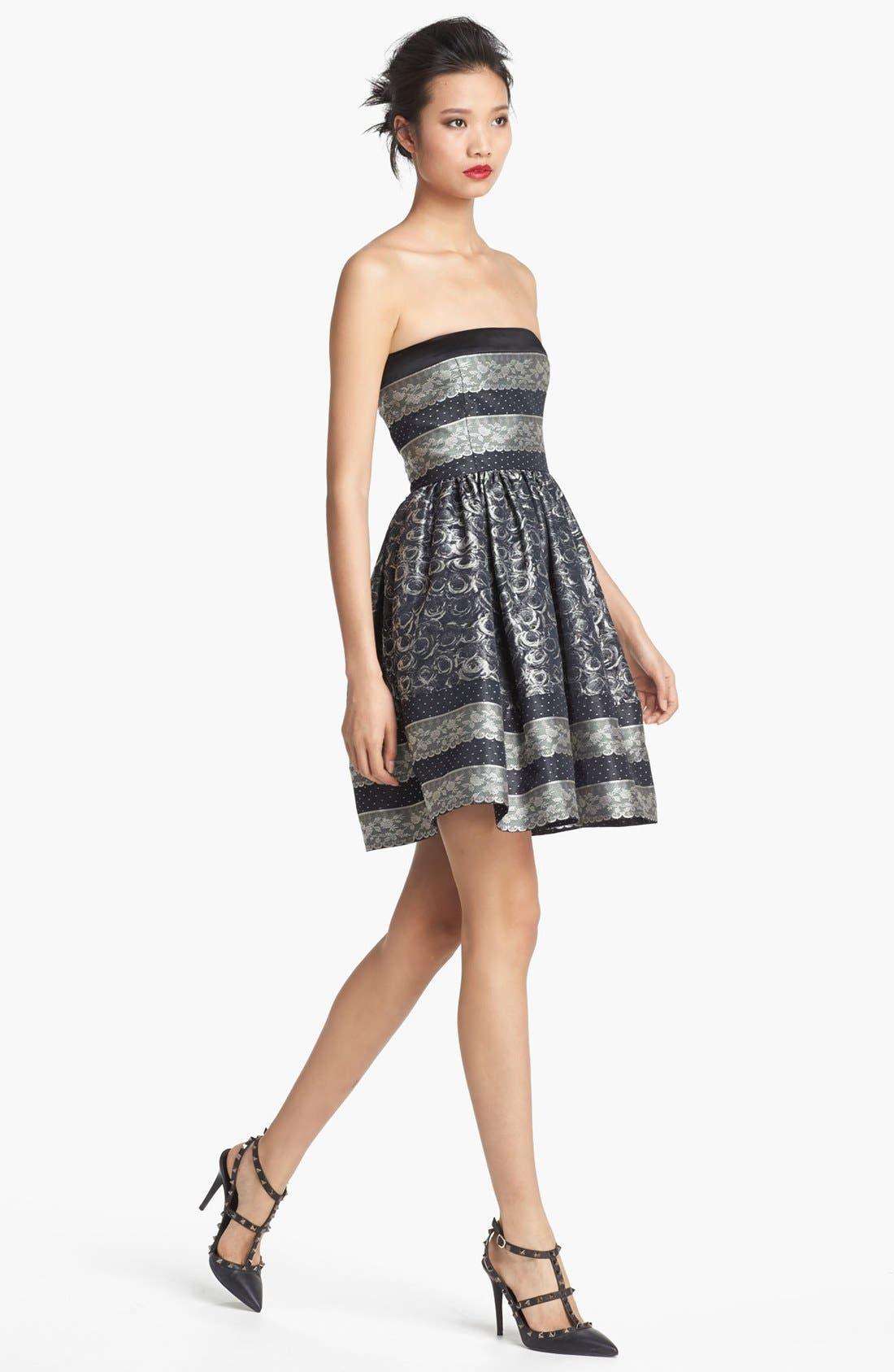 Alternate Image 1 Selected - RED Valentino Strapless Full Skirt Jacquard Dress