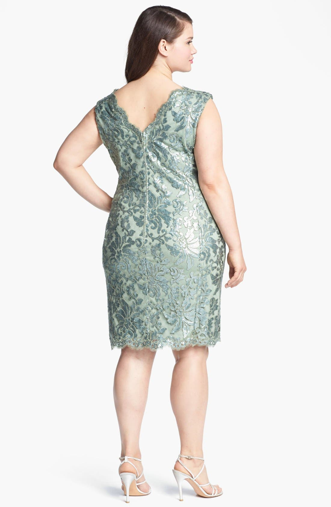 Alternate Image 2  - Tadashi Shoji Sequin Overlay Sheath Dress (Plus Size)