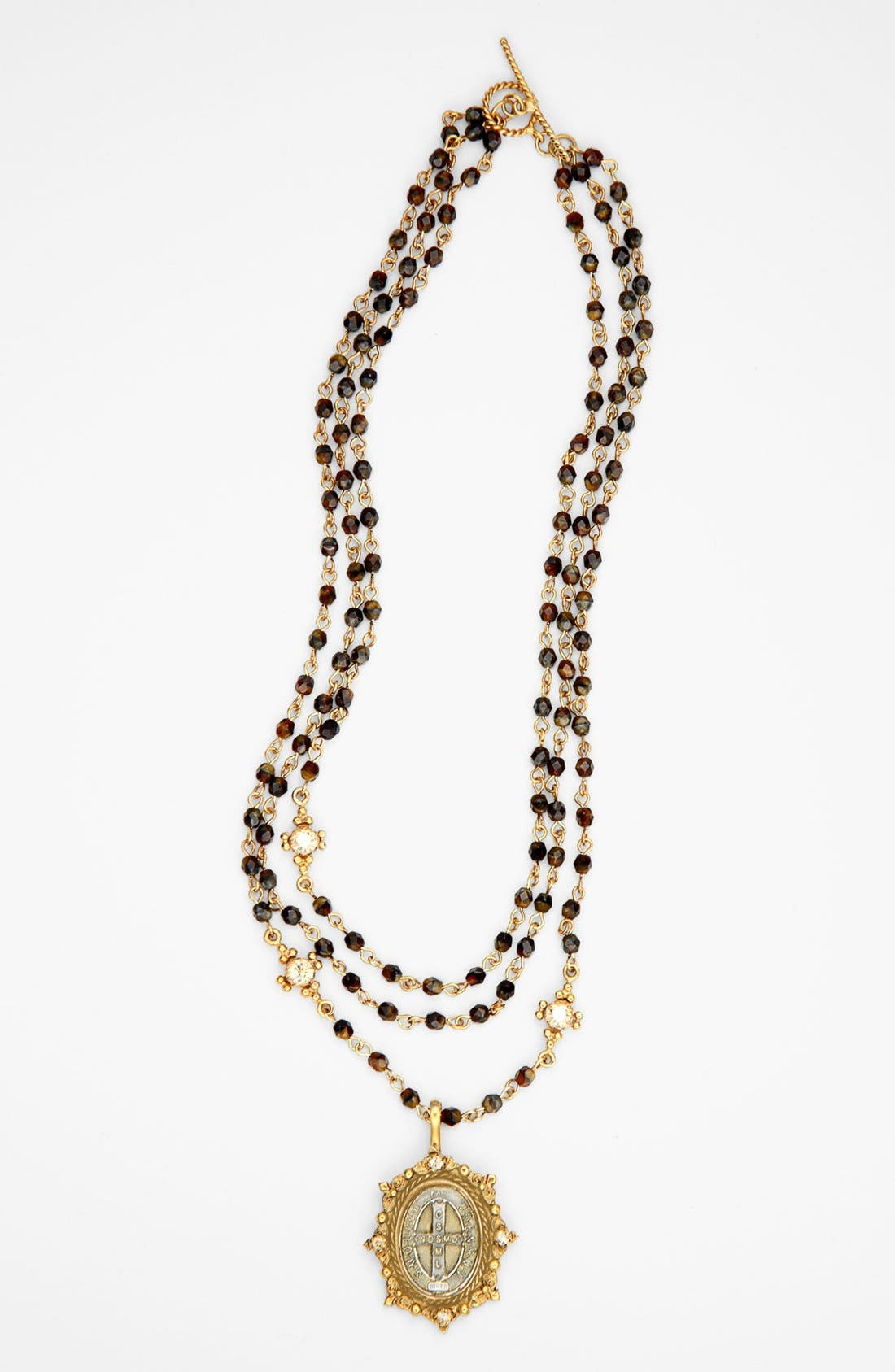 Main Image - Virgins Saints and Angels 'Tiger's Eye Oval Magdalena' Necklace (Nordstrom Exclusive)