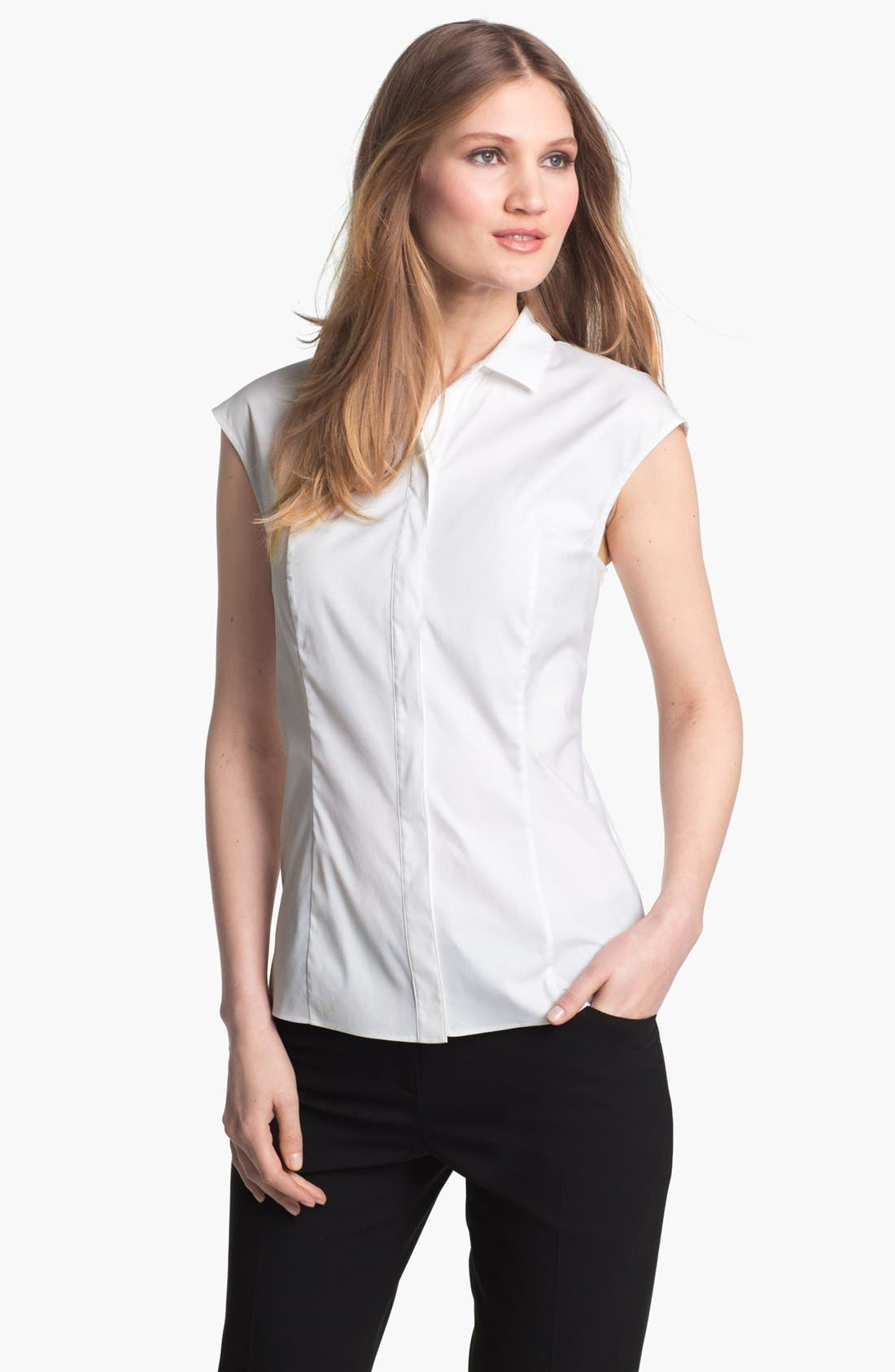 Main Image - Lafayette 148 New York 'Excursion Stretch' Short Sleeve Blouse