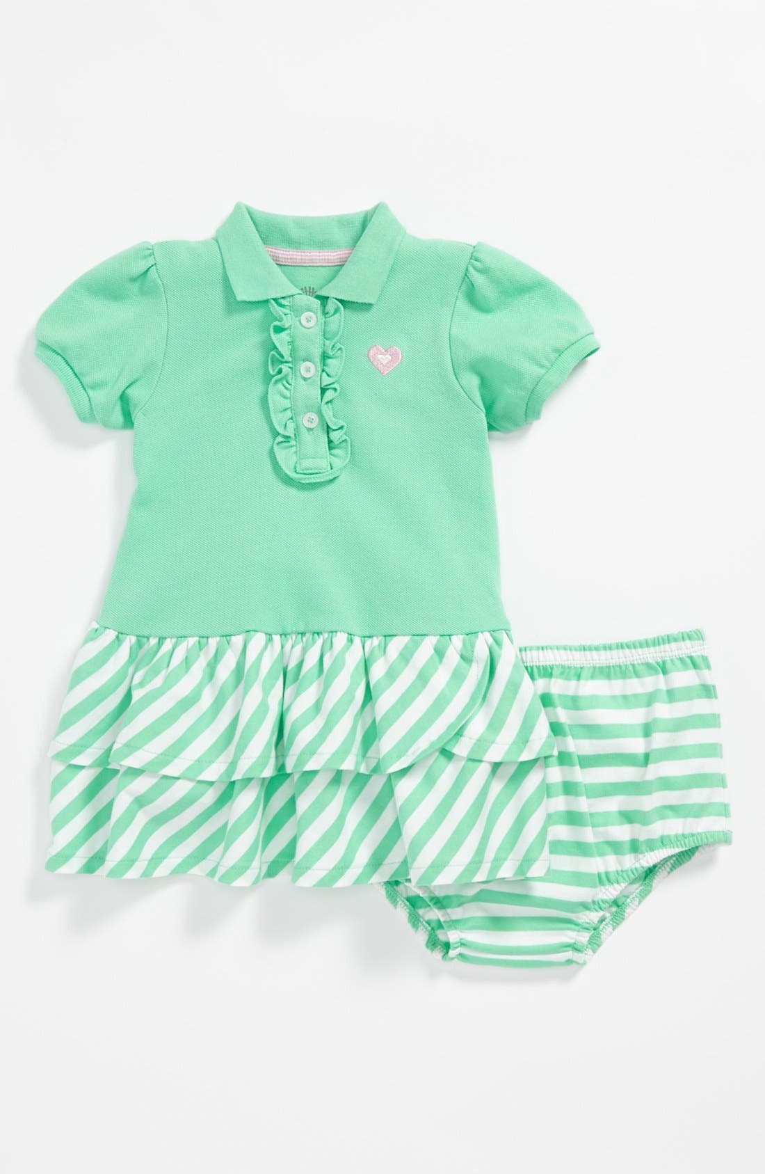Alternate Image 1 Selected - Little Me Polo Dress & Bloomers (Baby Girls)
