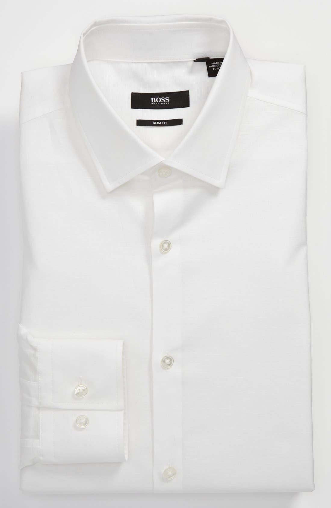 Alternate Image 1 Selected - BOSS HUGO BOSS 'Jenno' Slim Fit Linen Dress Shirt