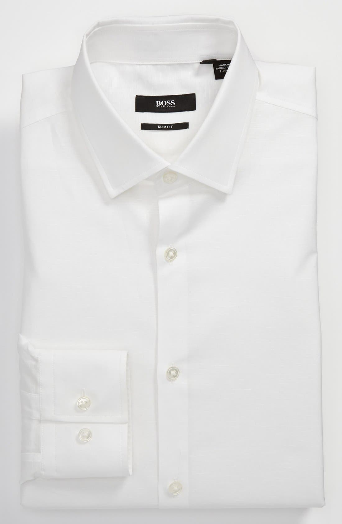 Main Image - BOSS HUGO BOSS 'Jenno' Slim Fit Linen Dress Shirt