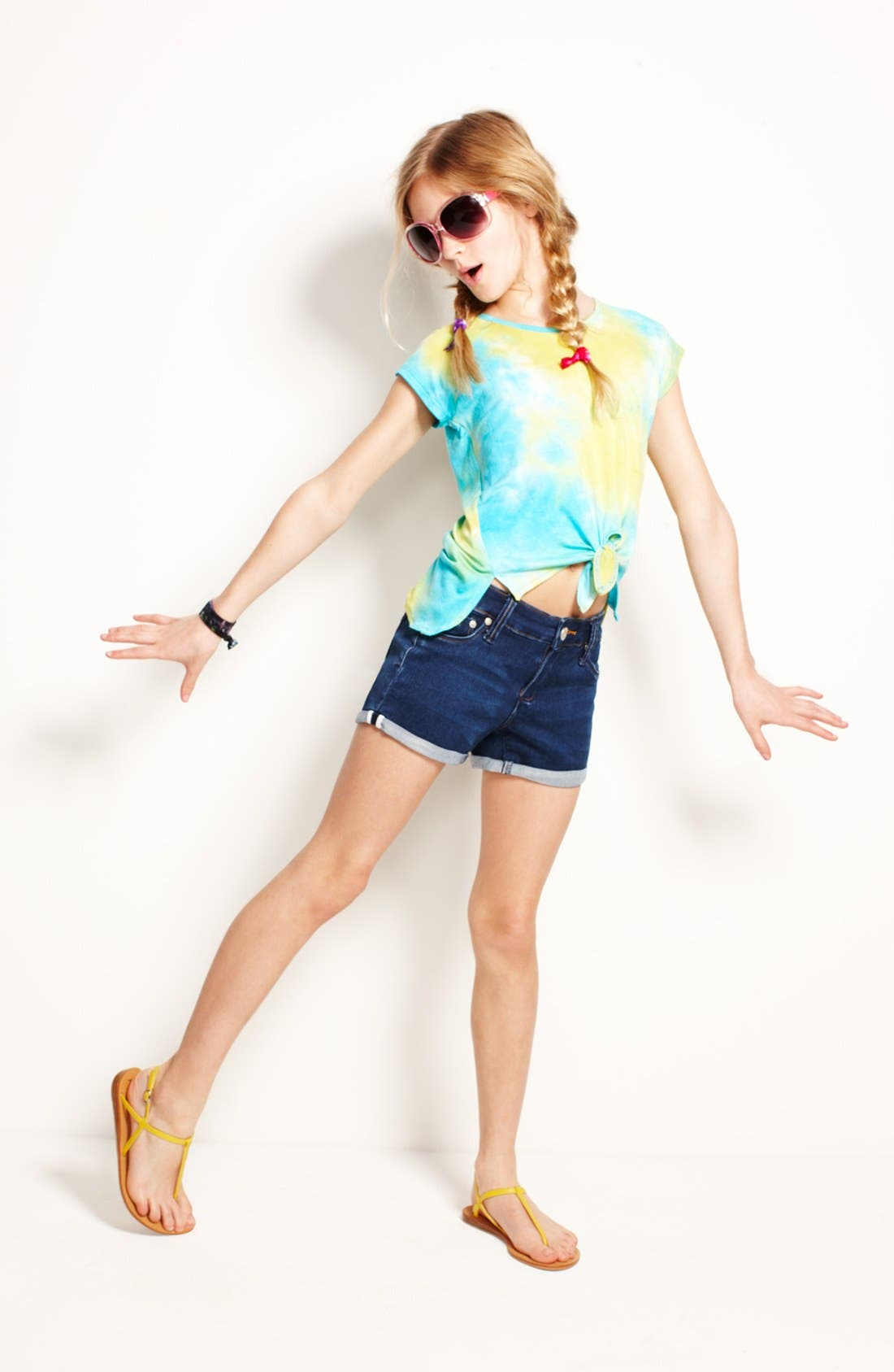 Alternate Image 1 Selected - Mia Chica Top & Tractr Shorts (Big Girls)