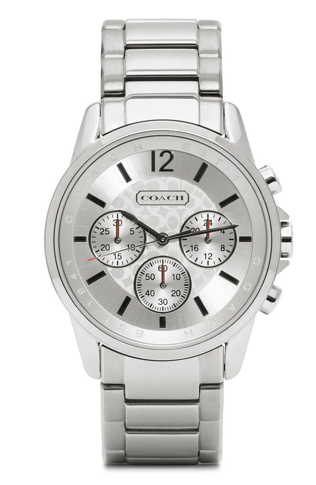 Alternate Image 1 Selected - COACH 'Classic Signature' Round Bracelet Watch
