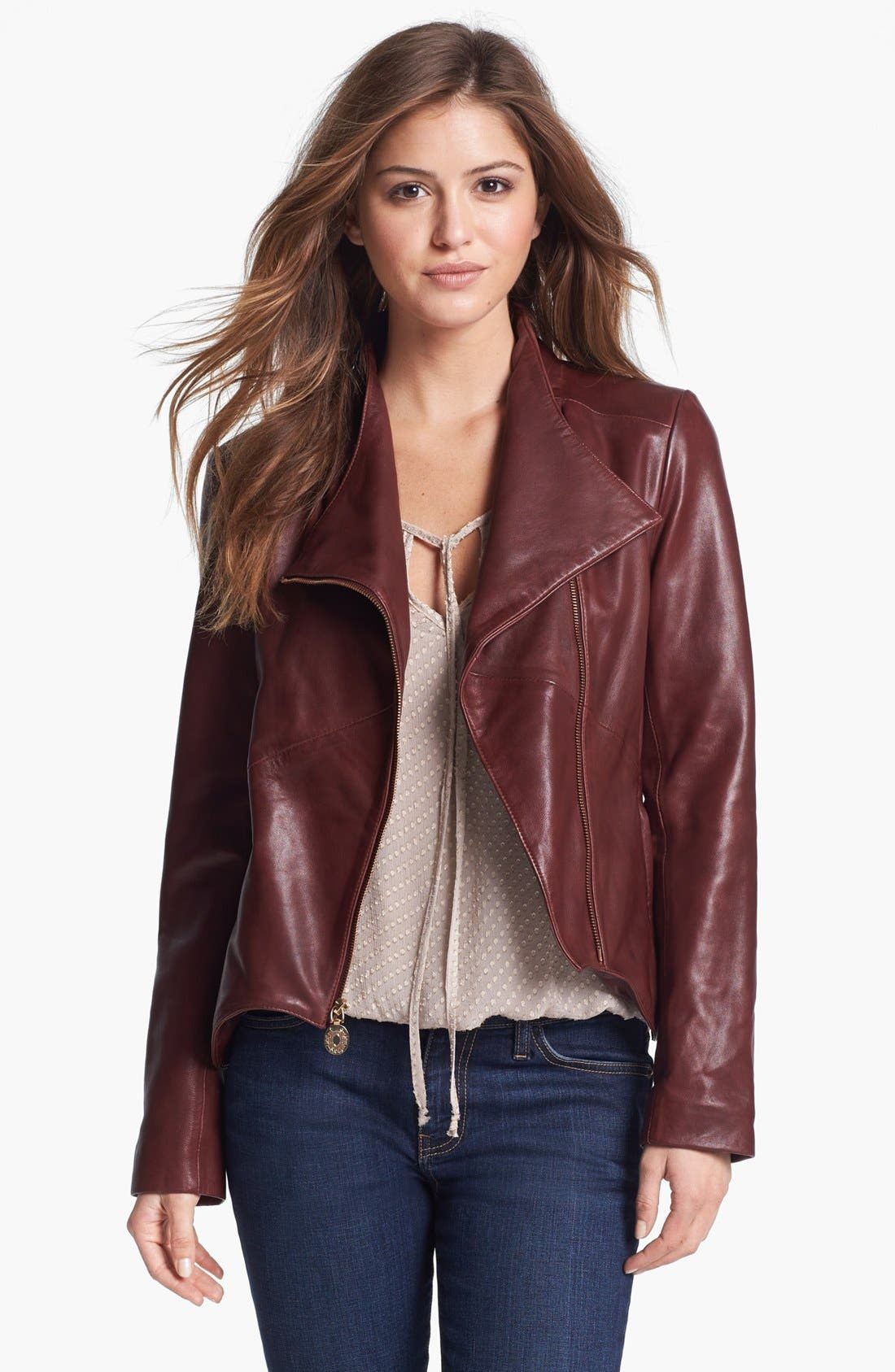 Main Image - Elie Tahari 'Beverley' Leather Moto Jacket