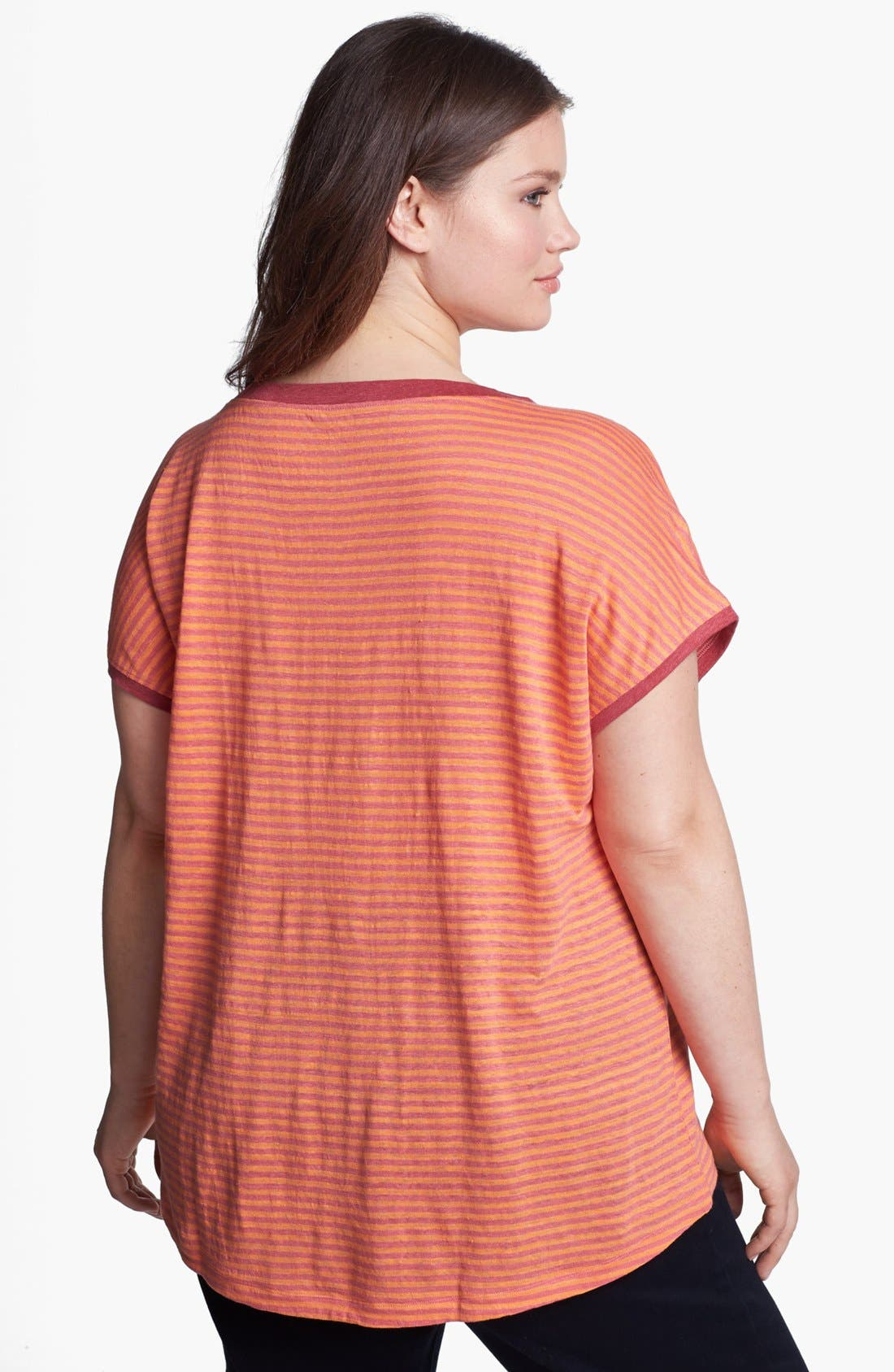 Alternate Image 2  - Eileen Fisher Stripe Linen Top (Plus Size)