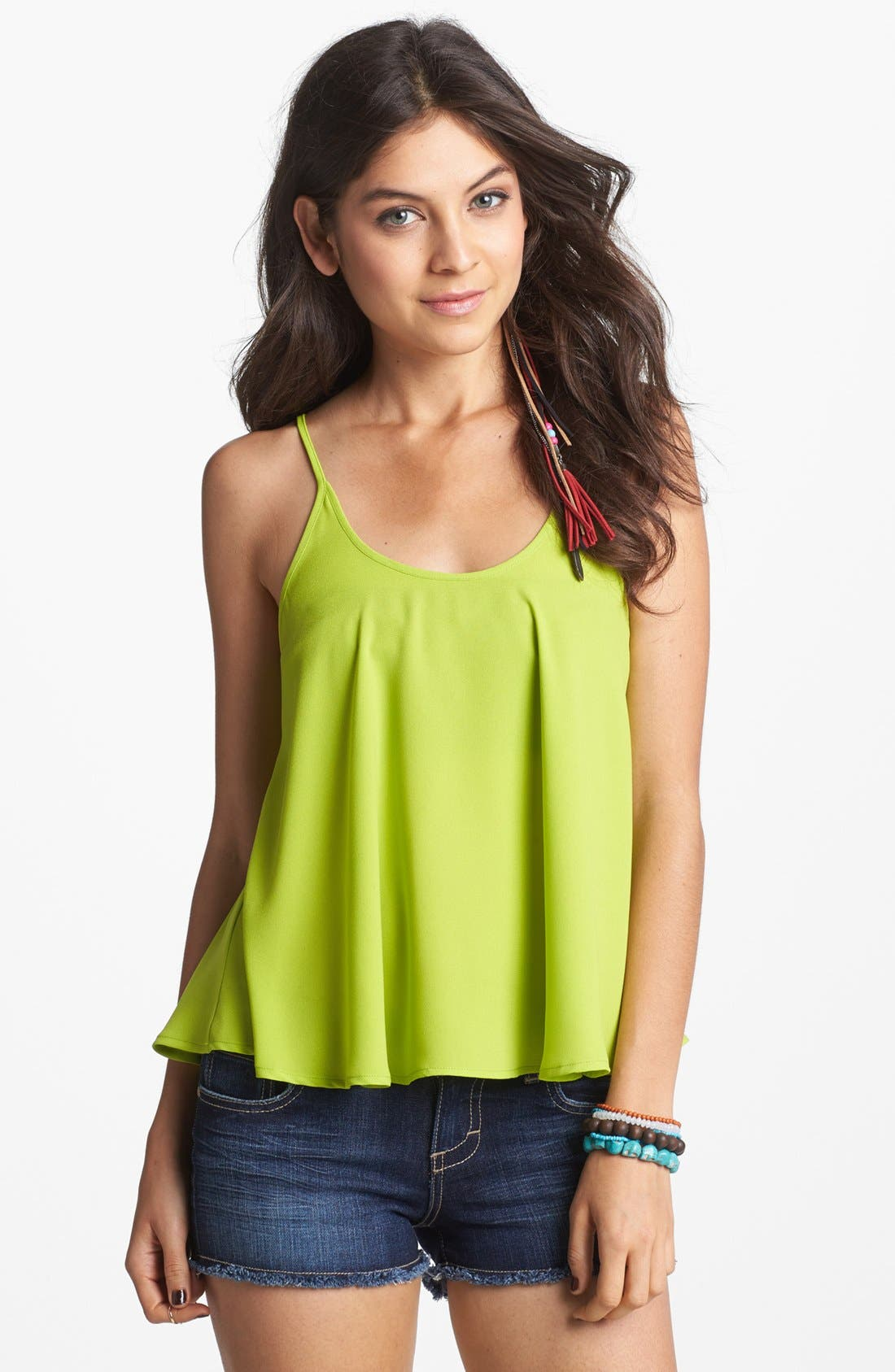 Alternate Image 1 Selected - Soprano Woven Crop Cami (Juniors)