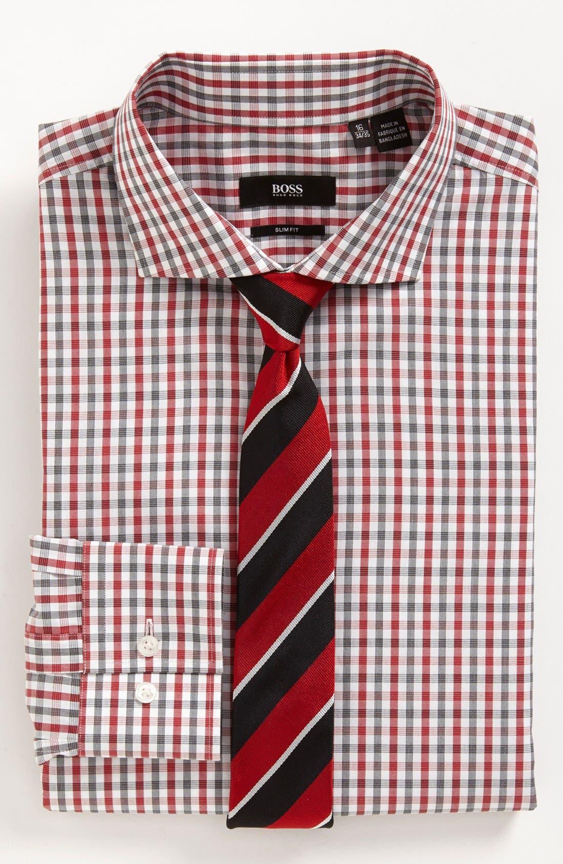 BOSS Black Dress Shirt & Tie,                         Main,                         color, Red