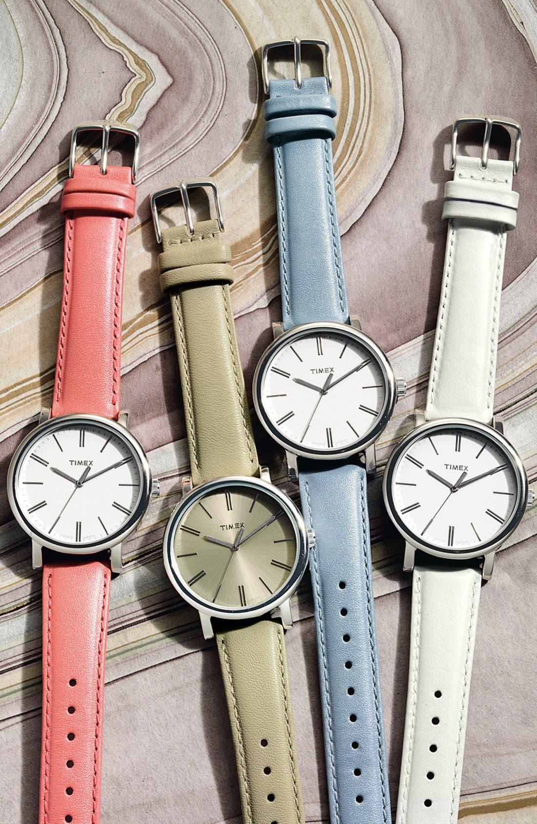 Alternate Image 2  - Timex® Round Leather Strap Watch, 38mm
