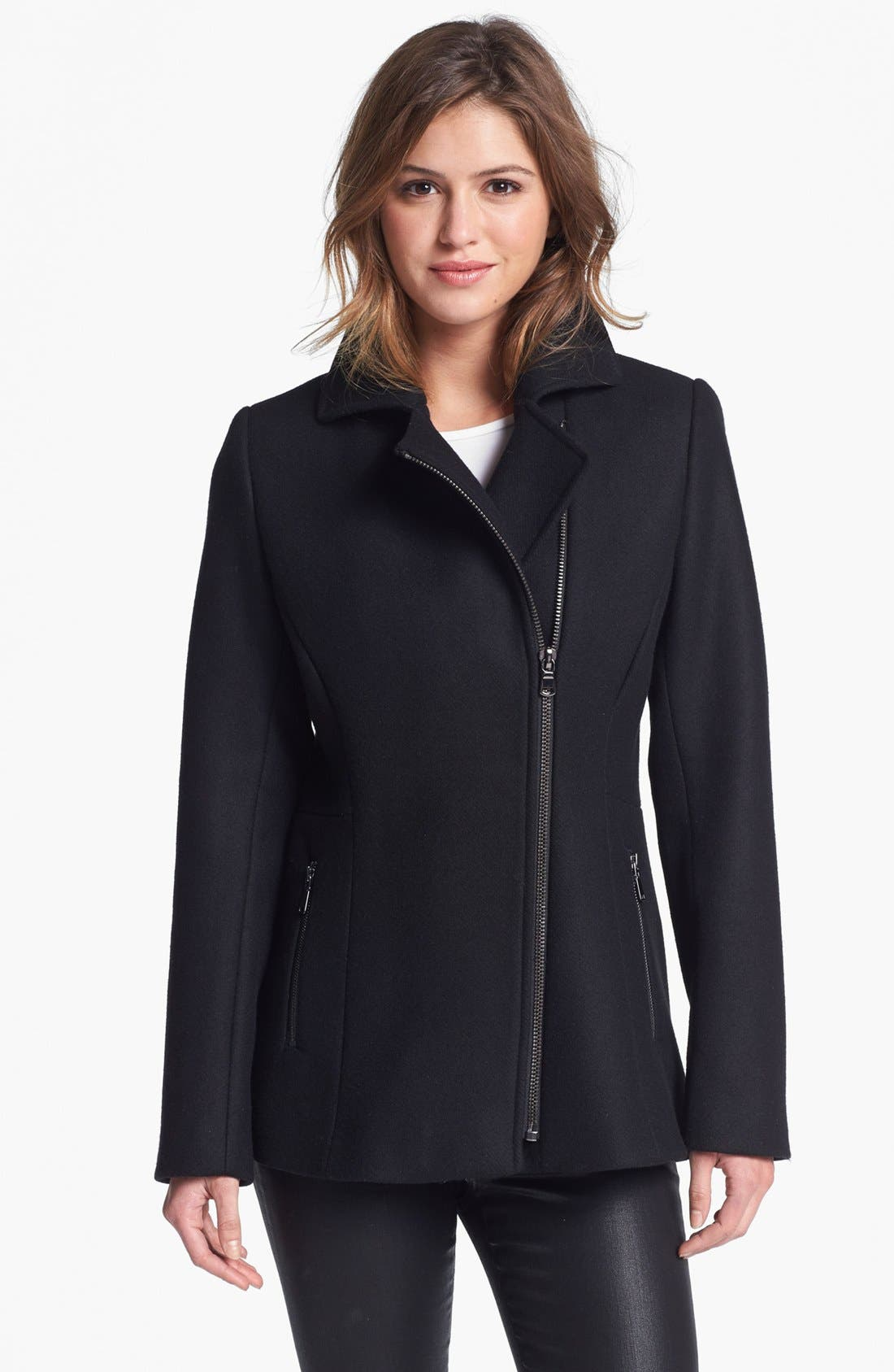 Main Image - Kristen Blake Asymmetrical Notch Collar Coat (Petite) (Online Only)