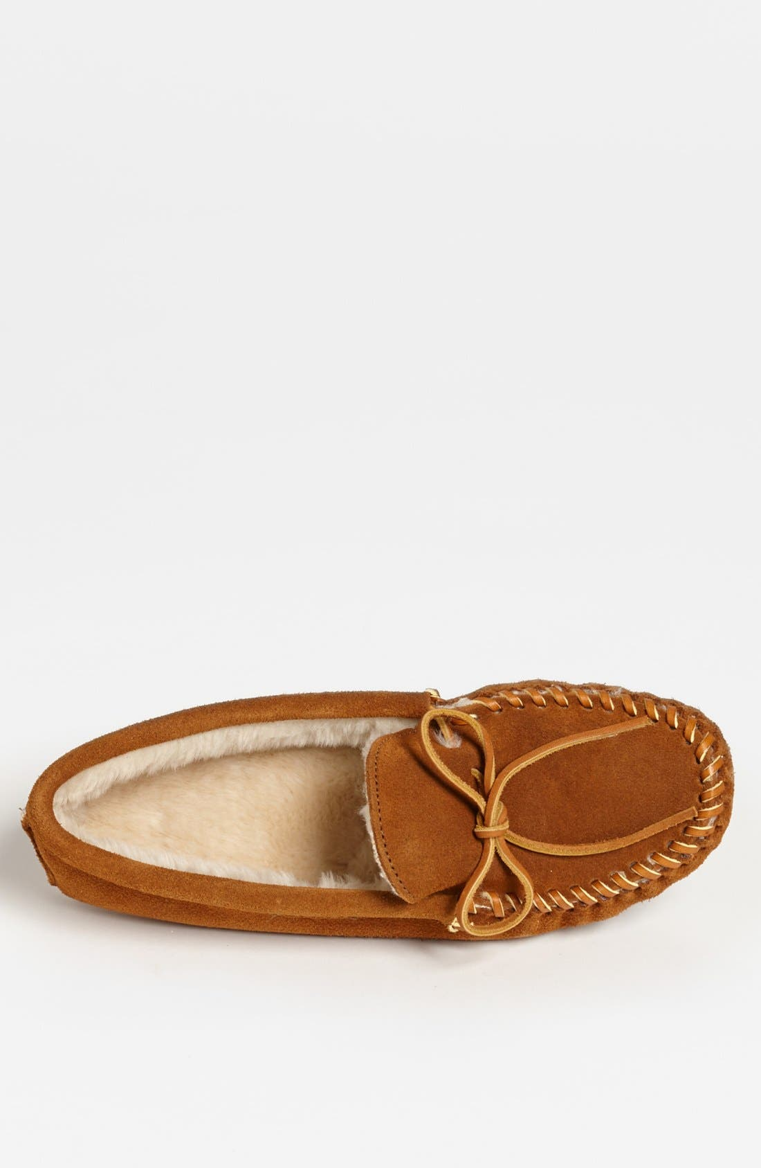 Suede Moccasin with Faux Fur Lining,                             Alternate thumbnail 3, color,                             Brown Suede