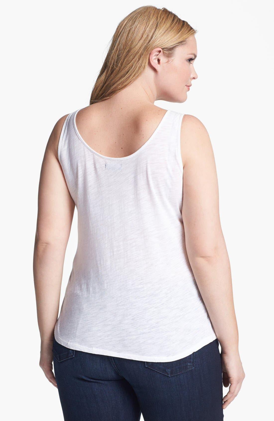 Alternate Image 2  - Lucky Brand Lace Flag Tank (Plus)